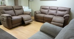Biscay mid beige fabric electric recliner 3 seater and 2 seater £1999  - Click for more details