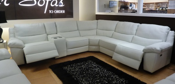 Marino Electric Recliner Corner White With Drinks Holder £2999