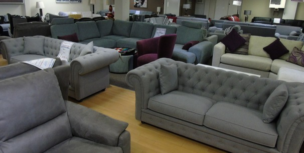 Chesterfield grey fabric 3 seater and 2 seater £999 (CLEARANCE OUTLET)