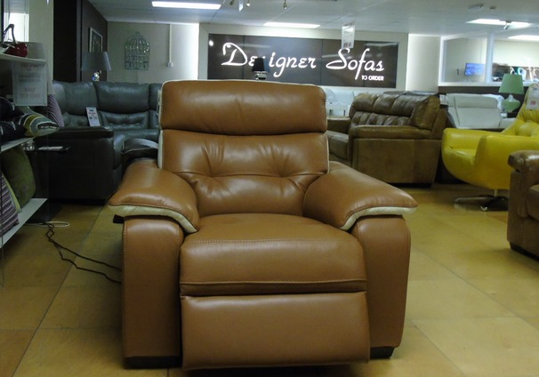 Lyon electric recliner chair- toffee cream trim £699 (SUPERSTORE)