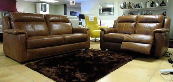 Cheltenham 3 seater and electric recliner 2 seater mid tan £2199 (SUPERSTORE)
