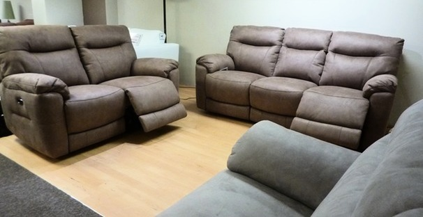 Biscay electric recliner 3 seater and 2 seater mid beige £1699 (SUPERSTORE)