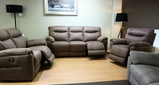 Biscay electric recliner 3 seater, 2 seater and chair mid beige fabric £2199 (SUPERSTORE)
