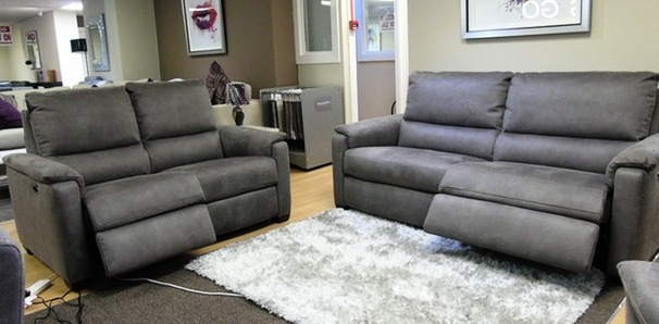 Geneva electric recliner 3 seater and 2 seater grey fabric £1699 (SUPERSTORE)