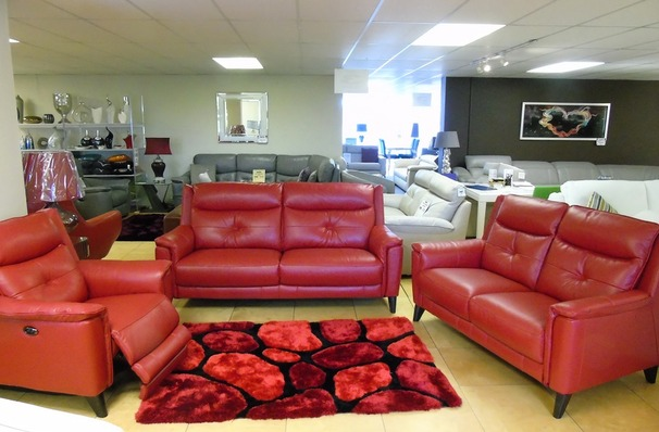 Winchester midi sofa, 2 seater and electric recliner chair  red £2599 (SUPERSTORE)