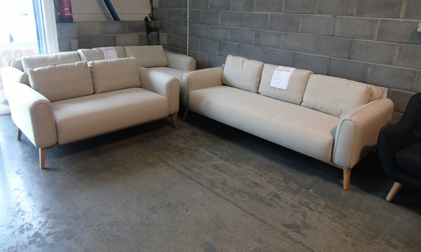 Malmo 3 seater and 2 seater beige fabric (CLEARANCE WAREHOUSE)