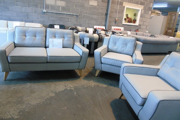 PERODA 815 2 seater and 2 chairs grey fabric £999 (CLEARANCE WAREHOUSE)
