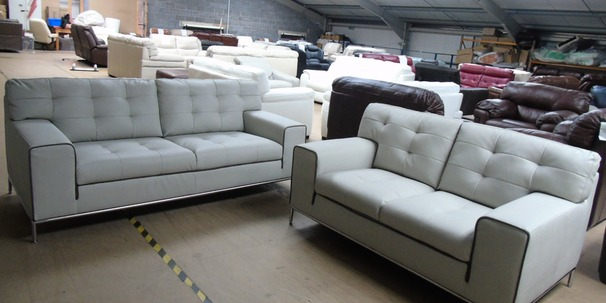 Cologne 3 seater and 2 seater stone -taupe piping £999 (CLEARANCE OUTLET)