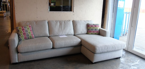 Chloe chaise sofa stone fabric £699 (CLEARANCE WAREHOUSE)