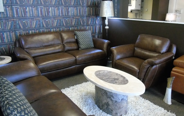 Julian 3 seater and 1 chair brown £1999 (SUPERSTORE)