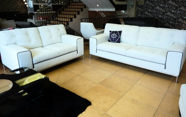 Cologne 3 seater and 2 seater white- dark piping £999 (SUPERSTORE)