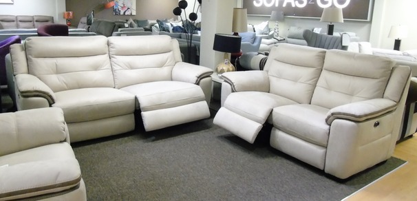 Miami fabric elctric recliner 3 seater and 2 seater beige fabric £1799 (SUPERSTORE)