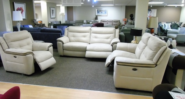 Miami elctric recliner 3 seater, 2 seater and chair  beige fabric £2298 (SUPERSTORE)