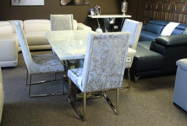 Cream Marble/chrome dining set with four chair £1499 (SUPERSTORE)