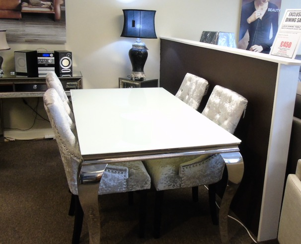 Versaille dining set and 4 chairs £999 (SUPERSTORE)