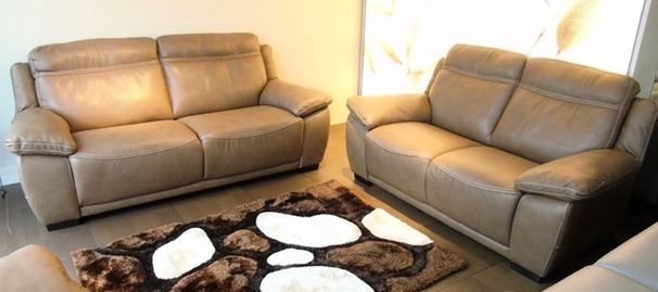 Torino 3 seater and 2 seater £2499 Taupe hide (SUPERSTORE)