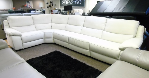 Winter white double electric recliner corner suite £2299 (SUPERSTORE)