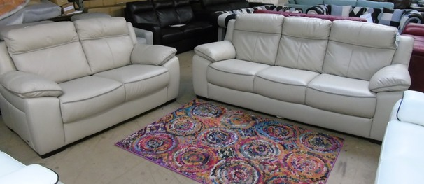 Nimes 3 seater and 2 seater £999 cream- dark piping (CLEARANCE OUTLET)