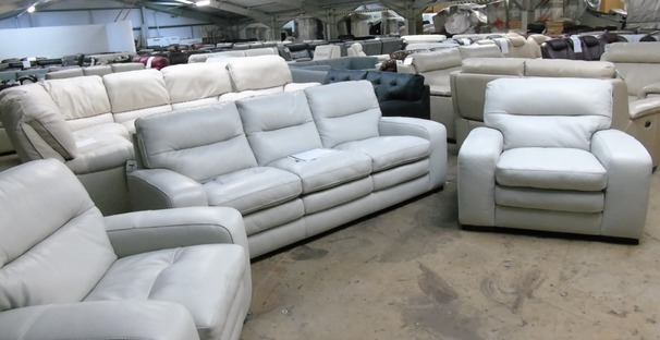 Roberta 3 seater and 2 chairs stone hide £999 (CLEARANCE OUTLET)
