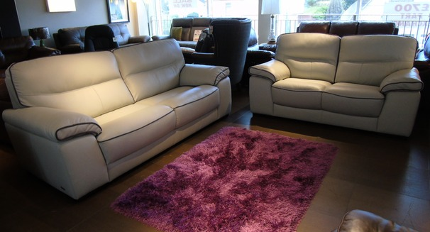Napa 3 seater and 2 seater- stone with dark piping £2199 (SUPERSTORE)