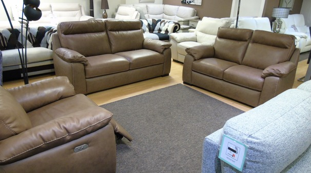 Latina 3 seater, 2 seater and electric recliner chair sand hide £2598 (SUPERSTORE)
