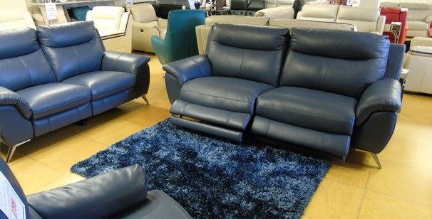 Monaco electric recliner 3 seater and 2 seater blue £2499 (SUPERSTORE)