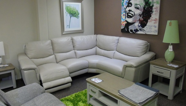 Dijon electric recliner corner suite stone leather £1699 (SUPERSTORE)