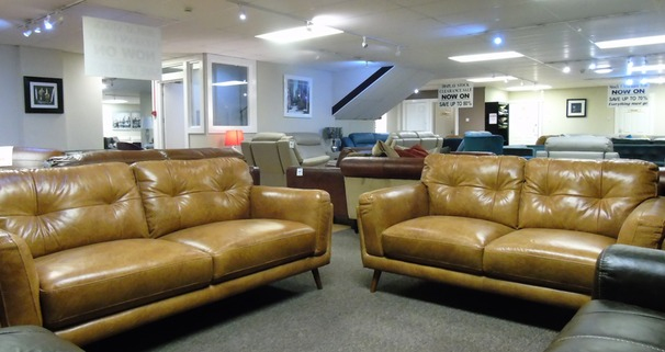 Cadiz 3 seater and 2 seater tan leather £1599 (SUPERSTORE)