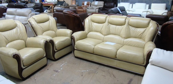 Gradi 3 seater and 2 chairs beige hide £1799 (SUPERSTORE)