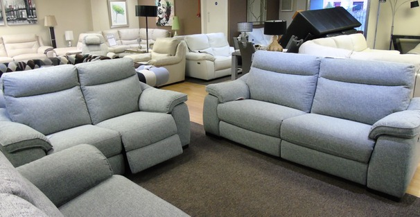Marseille electric recliner 3 Seater + 2 Seater £1599 grey fabric  (SUPERSTORE)