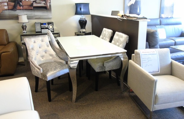 Cream dining set and 4  velvet chairs £799 (SUPERSTORE)