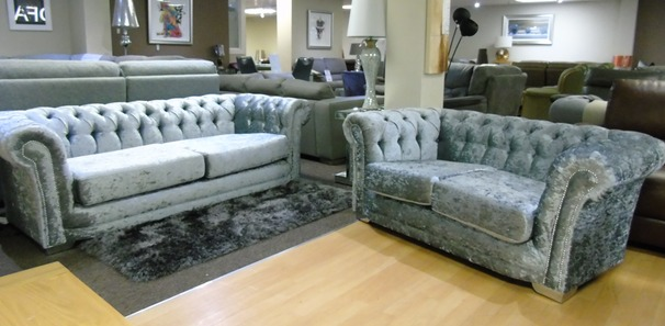 Chesterfield 3 seater and 2 seater grey crushed velvet £999 (SUPERSTORE)