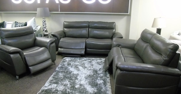 Santos electric recliner 3 seater, 2 seater and chair dark grey £2499 (SUPERSTORE)