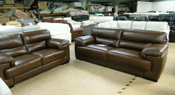 Rosa 3 seater and 2 seater Kansas Brown £2199 (SUPERSTORE)