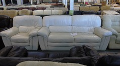 White leather 3 seater and 1 chair £149 - Click for more details