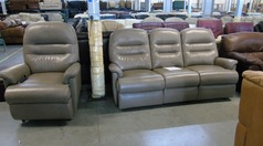 Taupe leather 3 seater and electric lifter chair £599 - Click for more details