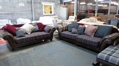 Leather and fabric 3 seater and 2 seater £599 - Click for more details